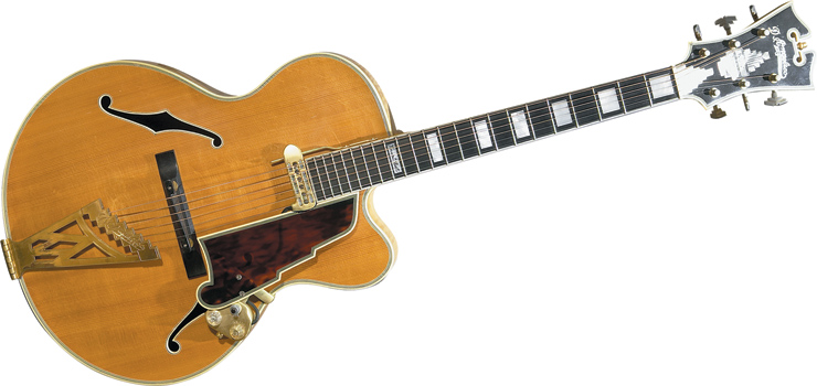 "Vinnie Bell's 1963 161/2"" D'Angelico New Yorker.  Asked why he had it made so small, he told Kellerman, ""I didn't want to shlep a big instrument to gigs."" He also said it was one of the last ones D'Angelico built by himself, and that Bell hand-selected the woods."