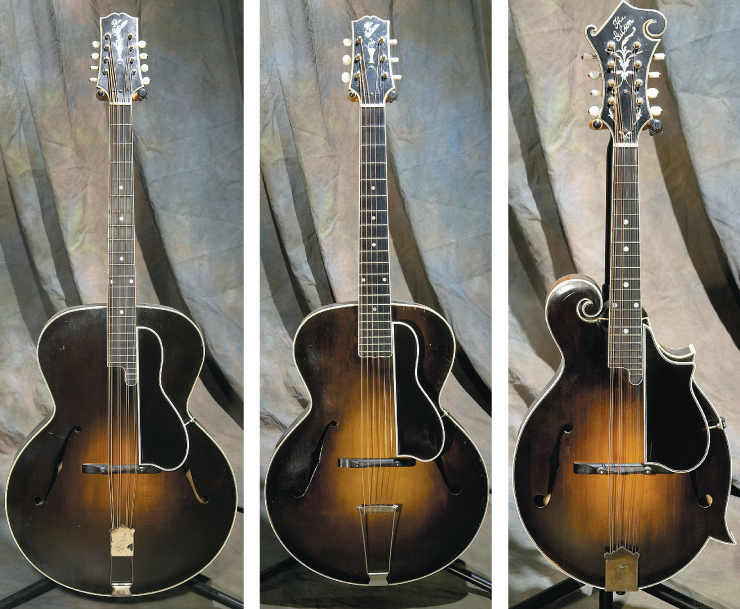 "The Gibson ""Lloyd Loar quartet"" alone makes the Kellerman collection one of the truly elite. From left they are an extremeley rare 1924 K-5 mandocello; '24 L-5; and '24 H-5."