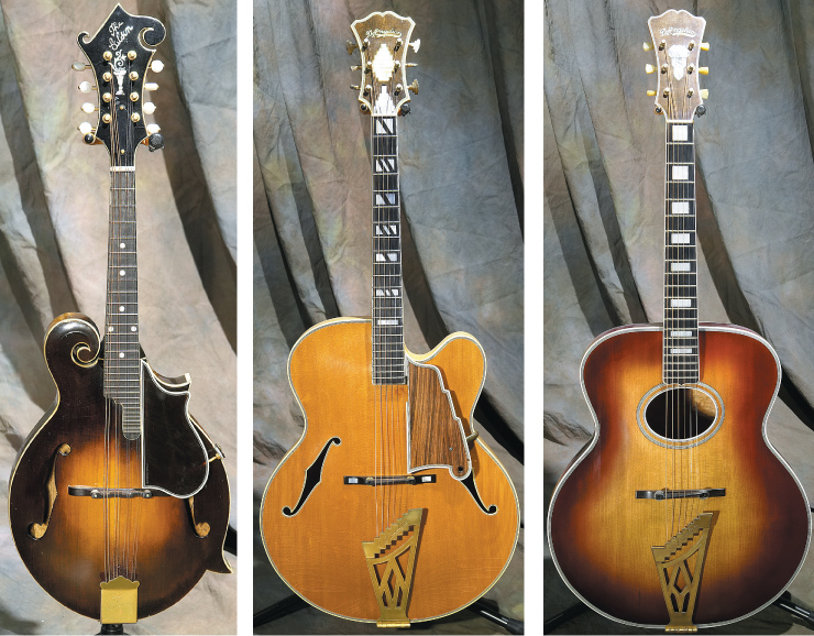 "(LEFT TO RIGHT) The Gibson ""Lloyd Loar quartet"" alone makes the Kellerman collection one of the truly elite; '24 F-5. '58 D'Angelico New Yorker. '53 D'Anglico 19"" oval-hole Special."