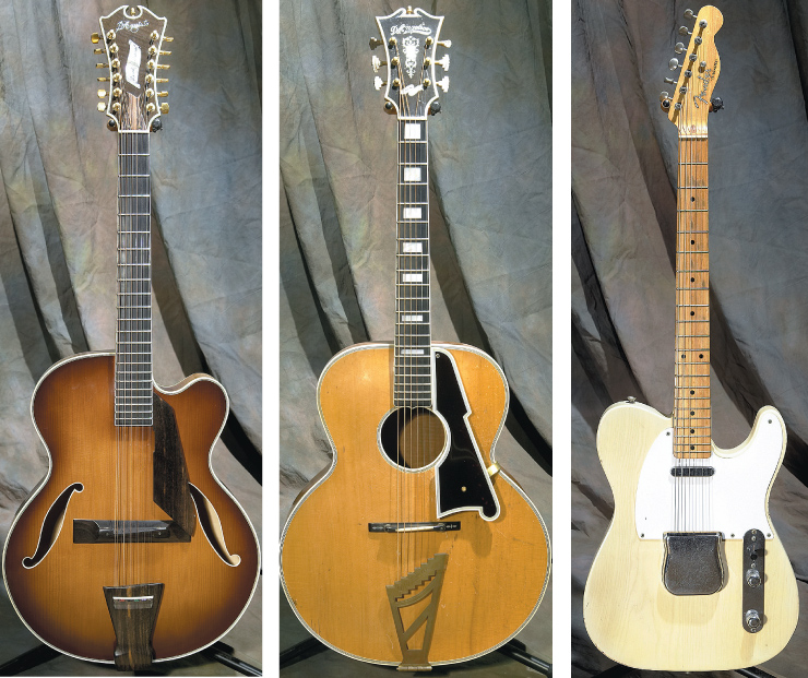 (LEFT TO RIGHT) '83 D'Aquisto 12-string archtop. 1940 D'Angelico round-hole Special with mahogany back and sides. 1955 Fender Telecaster.