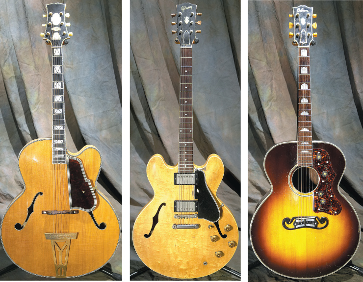 (LEFT TO RIGHT) Stromberg Master 400 cutaway. 1959 Gibson ES-335. 1940 Gibson J-200 with Brazilian Rosewood back and sides.