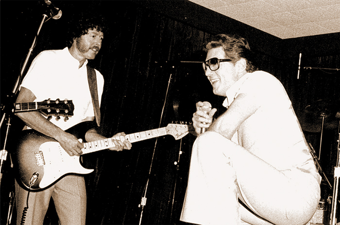 Lovelace with his '56 Strat, backing Jerry Lee Lewis in the '70s, and today with his James Burton signature Telecaster.