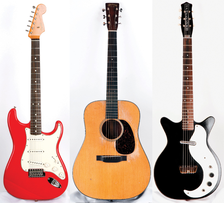 "(LEFT TO RIGHT) Knopfler's personal Fender Stratocaster signature model. Knopfler makes frequent use of this 1935 Martin D-18. ""There's just something about it,"" he says. ""It has a lot of character."" Knopfler used this '63 Danelectro DC to record ""Miss You Blue"" and ""Corned Beef City"" on Privateering."
