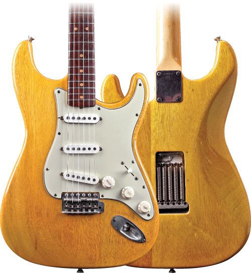 Dave Rogers' limba-bodied Strat bears serial number L14737 and had been stripped of its finish and disassembled when it was shipped to him in a box 20 years ago. Dave Rogers' Strat: Tim Mullally.