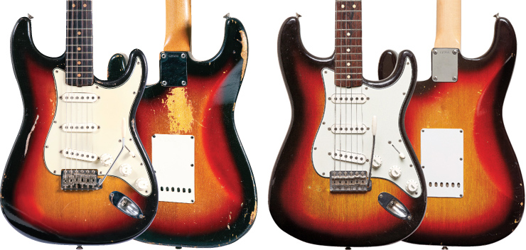 (LEFT) Steven Seagal's limba-bodied Strat, serial number L23353. (RIGHT) The guitar bought new for 12-year-old Brian Lehman bears serial number L126486. Seagal Strat and Lehman Strat: Rick Gould.