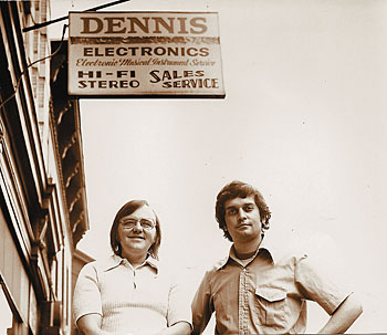 Dennis Kager and partner Dennis Bock in May of 1973, outside of Dennis Electronics, Union City, New Jersey.