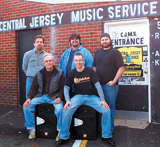 Kager (front left) with the staff of Central Jersey Music in October, 2008.