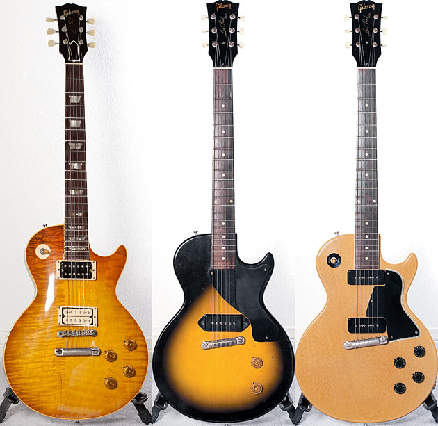 Kulicks highly modified 1953 Gibson Les Paul. 1956 Gibson Les Paul Junior. 1958 Gibson Les Paul Special in TV Yellow.
