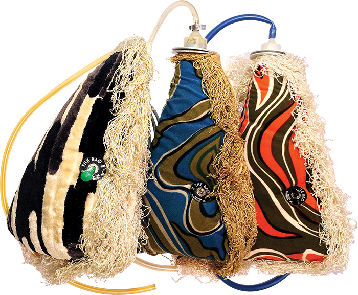 The Bag was available in an array of mod fabric coverings.