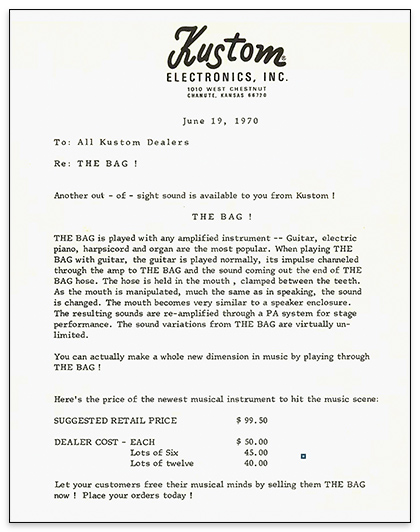 """This letter to dealers, distributed in 1970, promised, """"You can actually make a whole new dimension in music by playing through The Bag!"""""""