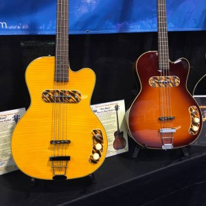 Rumor has it Sheryl Crow and Elvis Costello are fans of these #guitars. We spotted this pair in the Kay Vintage Reissue #NAMM2015 booth. Get yours at KayVintageReissue.com! #vintageguitar #guitarlove — in Anaheim, California.