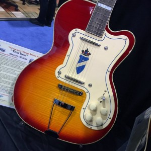 We're digging the crest on this Kay Vintage Reissue Thin Twin Electric #Guitar. Do you? #vintageguitar #guitarlove #NAMMshow #NAMM2015 #NAMM15 — in Anaheim, California.