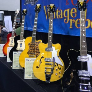 A line of lovely vintage #guitars decorate the Kay Vintage Reissue booth at #NAMM2015. #vintageguitar #guitarlove — in Anaheim, California.
