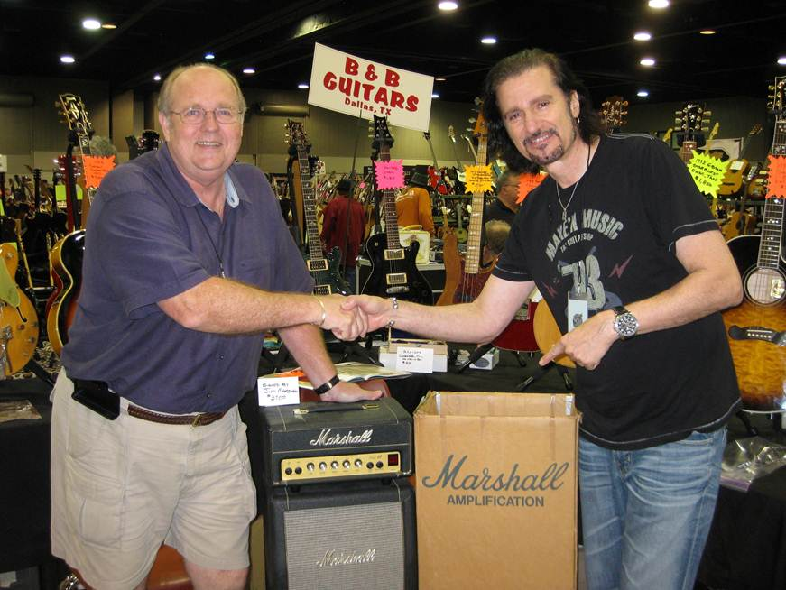 "Bruce Kulick scored a cool ""plexi"" Marhsall Micro Lead stack that was signed by Jim Marshall."
