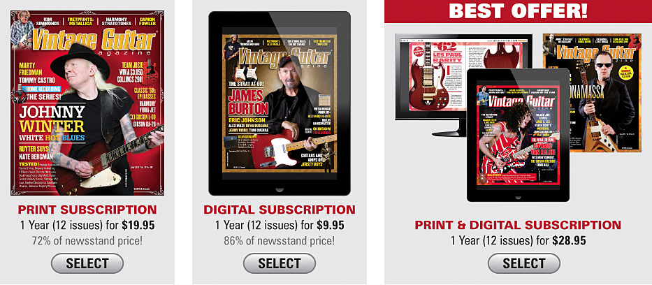 Save Now Vintage guitar magazine landing page