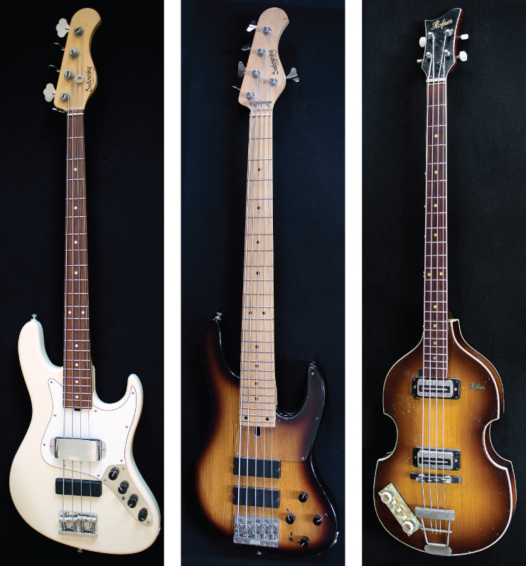 "(LEFT TO RIGHT) For his gig on ""Late Show With David Letterman,"" Lee relies on his four- and five-string Sadowsky signature-model basses. Both also feature prominently on his new album, Love, Gratitude & Other Distractions. Lee's Beatles influence manifests itself through this '60s Höfner bass – lefty configured!"