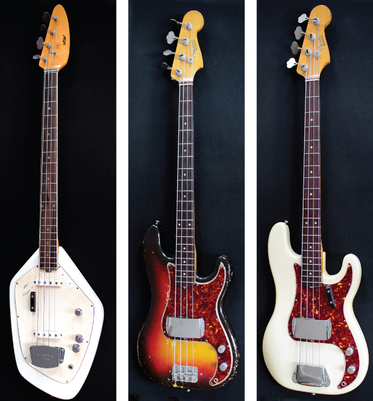 (LEFT TO RIGHT) Further evidence of the influence of the '60s; Lee's Vox Phantom bass. 1963 Fender Precision Bass. 1965 Fender Precision in Olympic White.