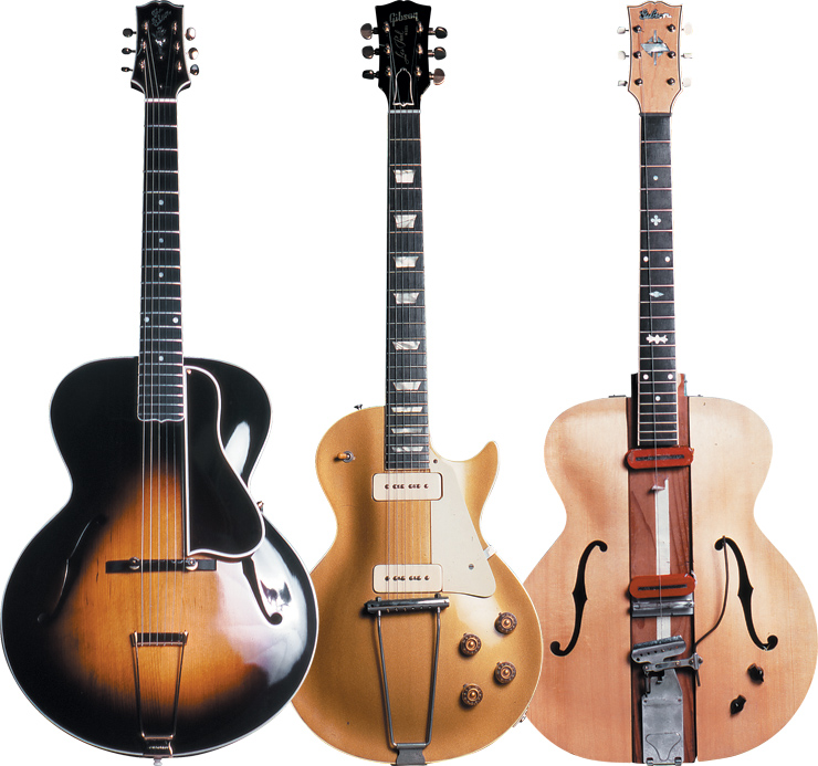 "(LEFT TO RIGHT) One of Les' Gibson L-5s, his early Les Paul goldtop, and the famed ""Log"" as it appeared in 1981."
