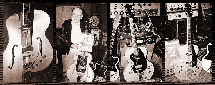 "(LEFT TO RIGHT)  The ""Log"" was made in 1941 at the Epiphone factory in New York.  It was a 4x4 piece of wood with pickups, winged sides, and an Gibson neck.  Les used the log to pester Gibson for 10 years in an attempt to get a Gibson solid guitar that sounded like a steel guitar.  Les and his #1 ""clunker,"" used to record ""How High The Moon"" and all other Les Paul and Mary Ford hits from the late 1940s and early '50s.  The sheet music cover shows Les holding this guitar.  Les Paul's #2 clunker was used as a backup for #1.  Number two has a rounded-off pickguard, not the squared pickguard on #1.  Les had told Gibson that he would play his clunkers until Gibson came up with a guitar that sounded better.  Gibson did produce its first solidbody, which did rival the sound of the clunker.  In the 1940s, Gibson offered Les any guitar he wanted including a gold plated L-5, but it's ironic that the one thing that Les wanted was a great-sounding solidbody, and Gibson refused to give him one.  The #3 clunker, which was occasionally used by Mary Ford.  She is pictured with a sunburst archtop on the cover of the ""Mockin' Bird Hill"" sheet music; could there have been a #4 clunker?"
