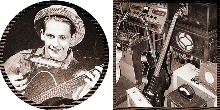 (LEFT) This photo of Rhubarb Red and his original Gibson L-5 hangs on the wall in Les Paul's home studio. (RIGHT) Inventions (and memories) in Les Paul's home