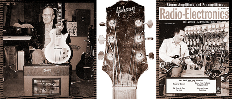 "(LEFT)  Les Paul with a '52 Les Paul Model and '52 Les Paul GA-40 amp, in the room where most of his TV show was taped and recorded.  ""We did the commercials mostly in this room and in another studio here, and the rest of the TV show was shot in the house."" (MIDDLE) This is the Gibson logo on the #1 clunker which Les applied because Gibson president Ted McCarty insisted on it.  Les told McCarty that he would continue to play the clunker until Gibson had made the solidbody prototype correctly.  The first prototype presented to Les at the Delaware Water Gap had several things wrong with it. (RIGHT) Les Paul was a top guitarist, engineer, inventor, promoter, and national celebrity by the time this cover photo appeared in 1958."