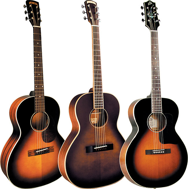 Morgan Monroe Blues 32, Morgan Monroe Creekside MV-01 and Loar LH-200