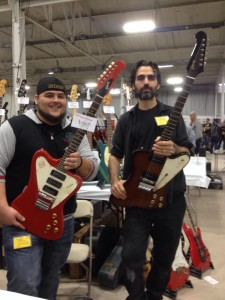 Luigi & Sam from Southside Guitars with a '65 red non-reverse 3-pickup Firebird and '65 sunburst Firebird with P-90s.