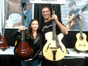 "Marchione Guitars are hand crafted in Houston, TX. Lucy and Stephen with their Premium Semihollow and 16"" Premium Archtop."