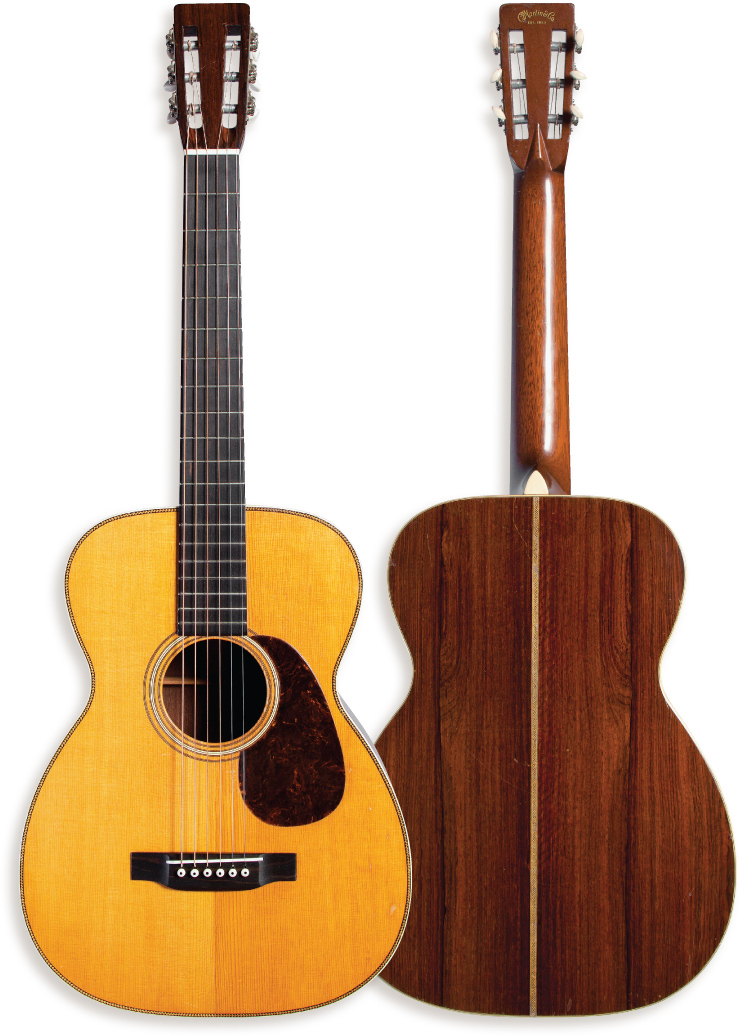 (RIGHT) While the Brazilian rosewood back, zigzag back stripe, and white ivoroid bindings were typical of Martin's work of the time, the logo decal on the back of the headstock is less-so.