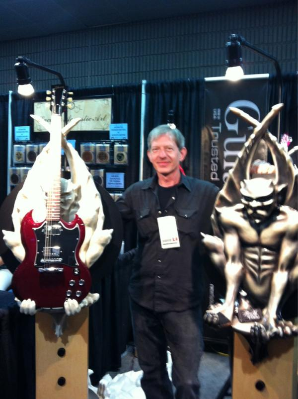 A unique way to display your axe. Mark Jagmin with GuitarGoyle