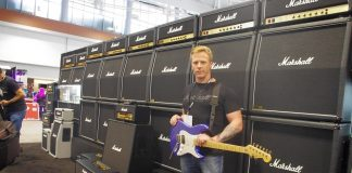 Steven Smith in front of the Wall of Marshall. A staple at the L.A. show, this was the Wall's first appearance at Summer NAMM.