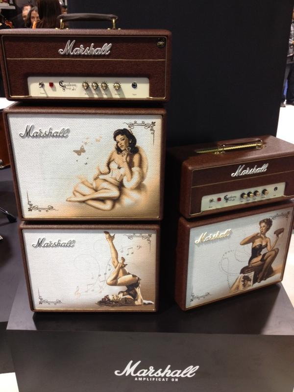 Marshall pin-up amps.