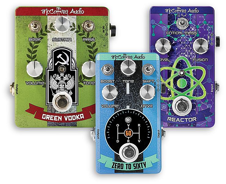 McCaffrey Audio –  Green Vodka Muff, Zero To Sixty Drive, Reactor Boost Compressor. Vintage Guitar magazine Giveaway
