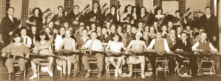 The NIOMA Guitar Orchestra, Seattle, 1939. Note the two NIOMA resophonic guitarss in the back row.