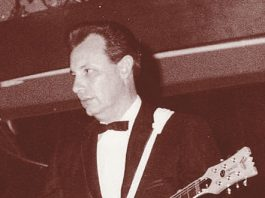 Edwards in the '60s, playing a Ventures model Mosrite.