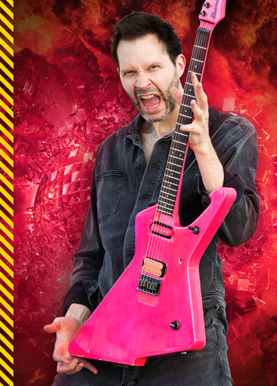 "Gilbert with his '87 Ibanez ""Ice-Stroyer"" hybrid of an Iceman and Destroyer. ""I became an Ibanez endorser in 1987, and one of my favorite models at the time was the Destroyer that Phil Collen was playing in Def Leppard's 'Photograph' video,"" he said. ""I asked for a pink version, and the custom shop went further and combined the top half of a Destroyer with the bottom half of an Iceman. It's stunning, and sound great."" Built with a Kahler vibrato and a mini-humbucker in the neck, Gilbert has since given it a solid tailpiece, a DiMarzio Tone Zone humbucker, and a DiMarzio single-coil. He also moved the Volume control."