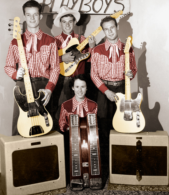 (ABOVE) The California Playboys, loaded with Fender gear; Jack McClure (left) with the third Precision Bass made by Leo Fender, Arlis McMinn with his refinished Fender Esquire with serial number 0095, Kay Francis with her Dual Pro doubleneck lap steel, and Harold Courtright with his (modified) Fender Esquire, serial number 0009.