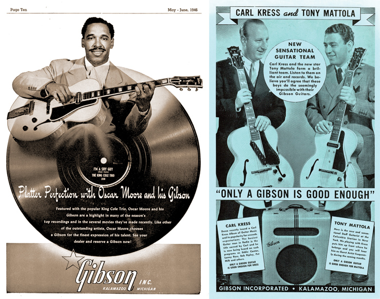 "(LEFT) Mid-'40s ad showing Oscar Moore and his electric L-5N with bar pickup. (RIGHT) A Gibson flier featuring Carl Kress (with ""new"" ES-250) and Tony Mottola (with old-style ES-250)."
