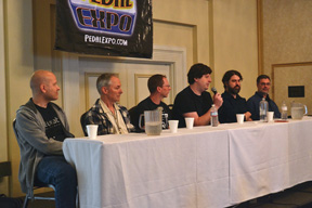 Pedal Guru Panel Discussion. From L-R Brian Neunaber (Neunaber Audio Effects), Kevin Beller (Seymour Duncan), Brian Wampler (Wampler Pedals), Josh Scott (JHS Pedals), Jamie Stillman (EarthQuaker Devices), and Robert Keeley (Keeley Electronics).