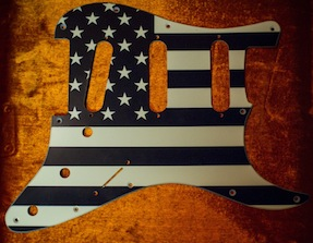 Perri Ink distressed B&W flag pickguard
