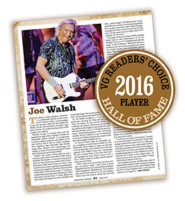 Readers of Vintage Guitar chose guitarist Joe Walsh for induction to the magazine's Hall of Fame