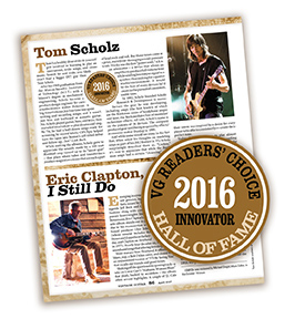 Readers of Vintage Guitar chose guitarist Tom Scholz for induction to the magazine's Hall of Fame, in the Innovator category