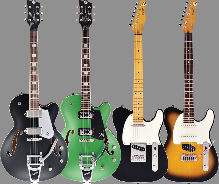(LEDT TO RIGHT) The PA-1 has a laminated, hollow maple body, korina neck, Uni-Brace asymmetric bracing, Reverend CP90 pickups, Bigsby B70, roller bridge, and locking tuners. The PA-1 RT uses Reverend's Revtron pickups. The Eastsider T has a chambered korina body, maple neck, and Reverend Talnico pickups. The Eastsider S has a chambered korina body, maple neck, Reverend's Talnico bridge and Salnico middle/neck pickups, and a Wilkinson vibrato.