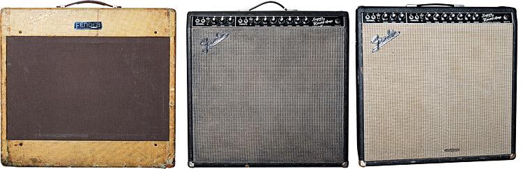 (LEFT TO RIGHT) 1950s Fender Pro. 1966 Fender Super Reverb. Early-'60s Fender Super Reverb.