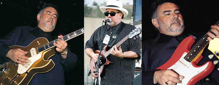 (LEFT TO RIGHT)  Robillard, an Epiphone endorser, gives this ES-295 plenty of stage and studio time. Onstage, sporting a fedora and a Les Paul Special. Robillard with a Strat.