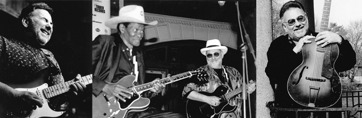 (LEFT TO RIGHT) Putting the squeeze on a Strat in '98. Robillard keeps an eye on Gatemouth Brown at Handy Jam 2001, Memphis. Robillard with his 1933 Epiphone Royal archtop.