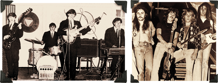 (LEFT) A 16-year-old Francis Rossi with his band, The Spectres, in 1965. (RIGHT) Status Quo in its prime.