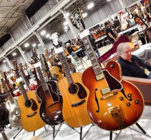 (Right to left) 1970 Gibson Super 400 CES, 1963 Martin D- 21, 1924 L-5 Loar, 1939 D-28 from Laurence Wexer Guitars.