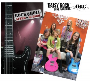 Daisy Rock donates guitar to Rock and Roll After School program.