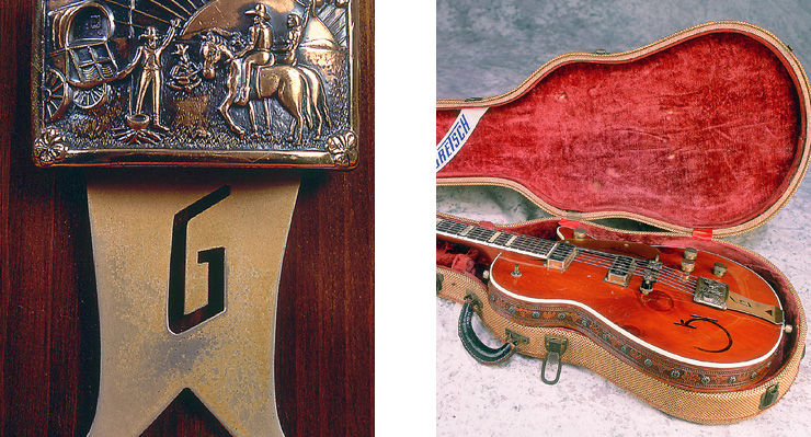 "(LEFT) Closeup of the ""belt buckle"" tailpiece showing the chuck wagon/campfire scene. (RIGHT) The tooled leather trim and clean tweed case with the Grestch banner in the lid."
